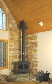 wood stove surround stone - in corner