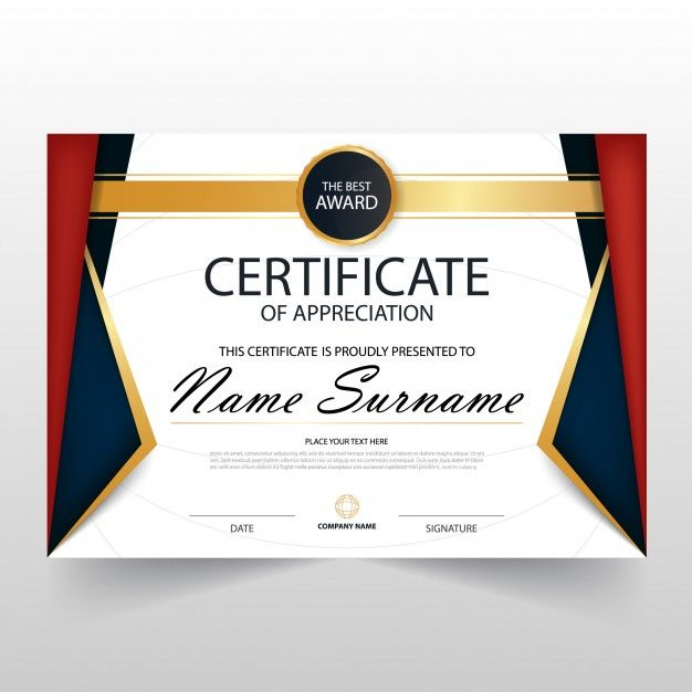Colorful luxury horizontal certificate design Free Vector