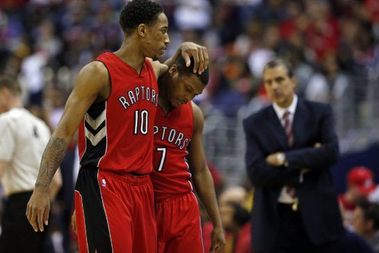 The Raptors' DeMar DeRozan consoles Kyle Lowry as they leave the floor after they were schooled by the Wizards in a Game 4 rout on Sunday.