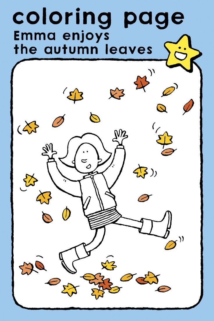Emma Enjoys The Autumn Leaves Kiddicolour Coloring Pages Autumn Leaves Scary Coloring Pages