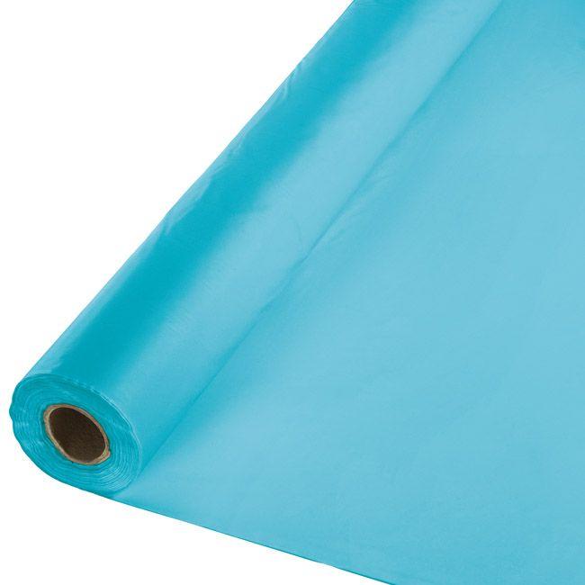 Bermuda Blue Plastic Tablecloth 100 Foot Roll Banquet Tables Bermuda Blue Table Cover Rolls