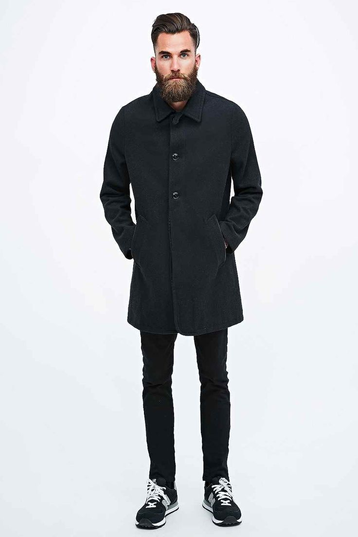 Indigo & Maine Wool Mac in Charcoal