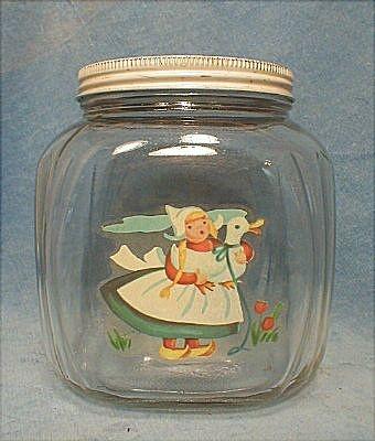 Hazel Atlas Glass Kitchen Canister Jar, Dutch Girl Decalrubylane.com