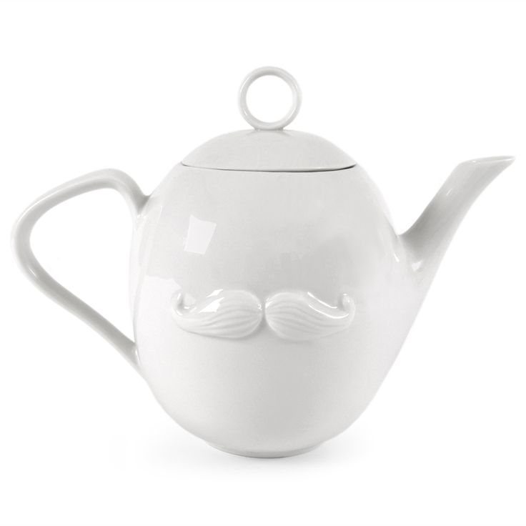 muse teapot by jonathan adler, with lips on one side and a mustache on the other. A matching sugar and cream set also available.
