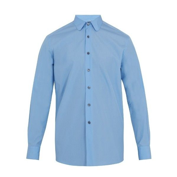 Prada Rounded-collar single-cuff shirt (47730 ALL) ❤ liked on Polyvore featuring men's fashion, men's clothing, men's shirts, light blue, mens light blue dress shirt, mens shirts, prada mens shirts, mens regular fit shirts and prada mens clothing