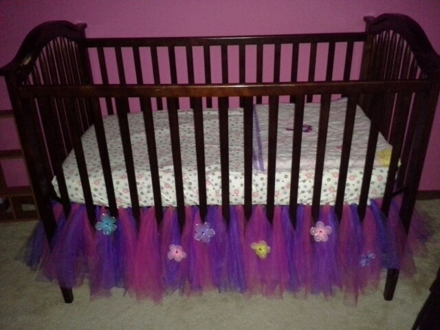 Tulle crib skirt- going to do yellow and coral, probably do a pink one for Krysta's bed
