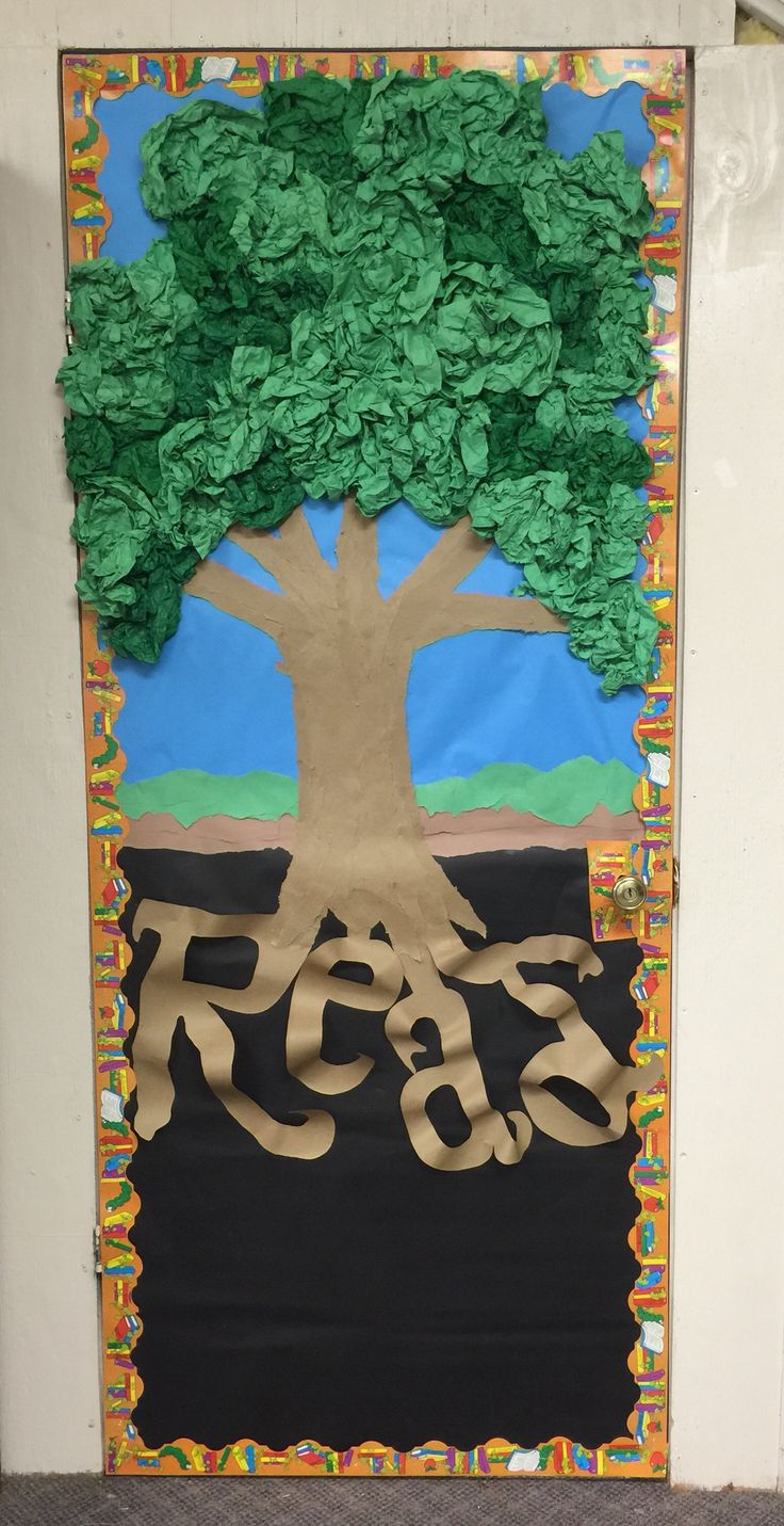 Library Bulletin Board or Door ideas. Collage with butcher paper to give texture. Leaves are scrunched up butcher paper and and tissue paper.