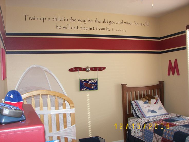 Red And Creame Aviation Themed Boys Room With Red Steel Propeller On Creame  Walls With Red Horizontal Stripes And Gorgeous Varnised Wooden Bed Design  Ideas ...