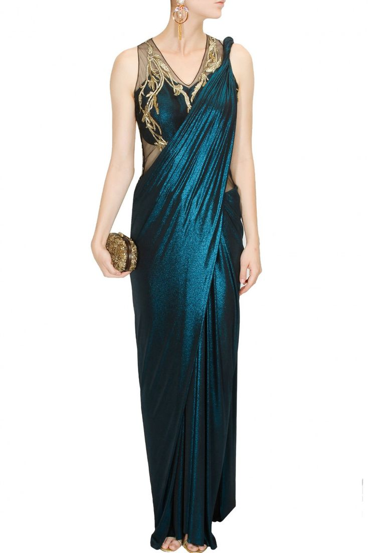 Blue shimmer gold metal embroidered sari gown by Gaurav Gupta. Shop at: http://www.perniaspopupshop.com/designers/gaurav-gupta. #shopnow #perniaspopupshop #gauravgupta