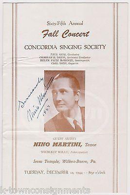 NINO MARTINI ITALIAN OPERA SINGER VINTAGE AUTOGRAPH SIGNED WWII CONCERT PROGRAM