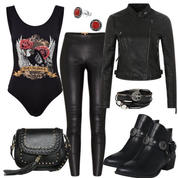 freizeit outfits born to rock bei dieses outfit f r damen ist ideal f r frauen. Black Bedroom Furniture Sets. Home Design Ideas