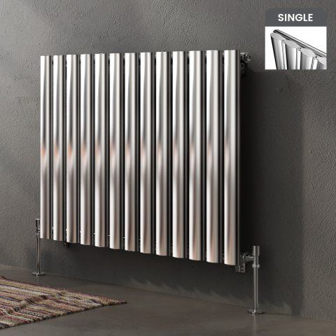 Huntington Horizontal Oval Tube Designer Gas Radiator In Chrome 600mm X  780mm   Soak.com