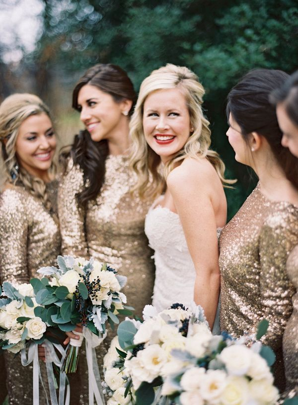 Sequin bridesmaid dresses    #wedding #weddingideas #aislesociety #glamwedding #fallwedding