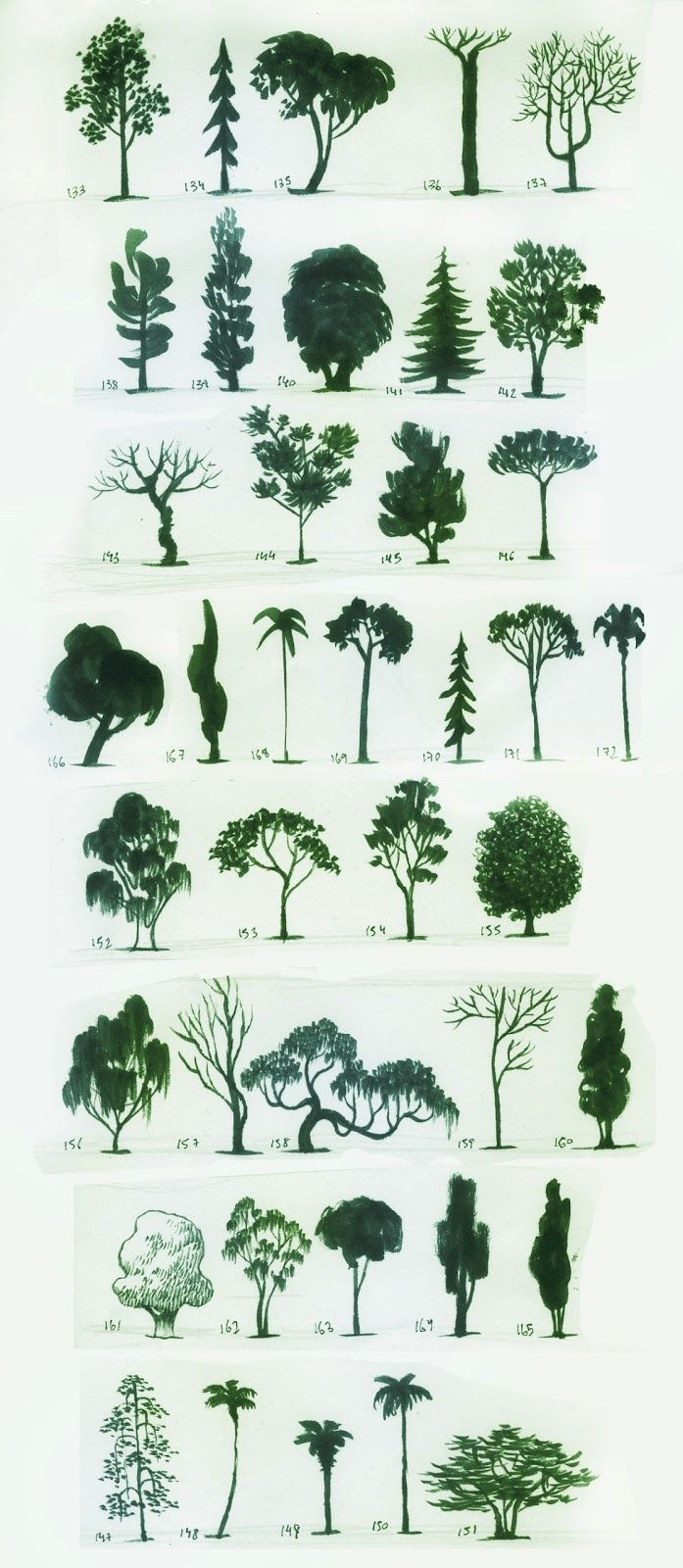 All forms of trees needed for watercolour
