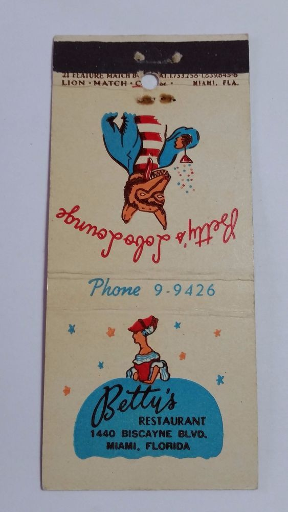 BETTY'S RESTAURANT MIAMI FLORIDA 21 FEATURE Match Book Cover