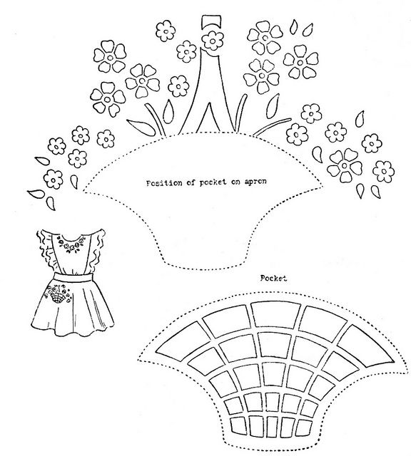 Pinafore Embroidery Pattern Part 1: Basket and Flower Embroidery