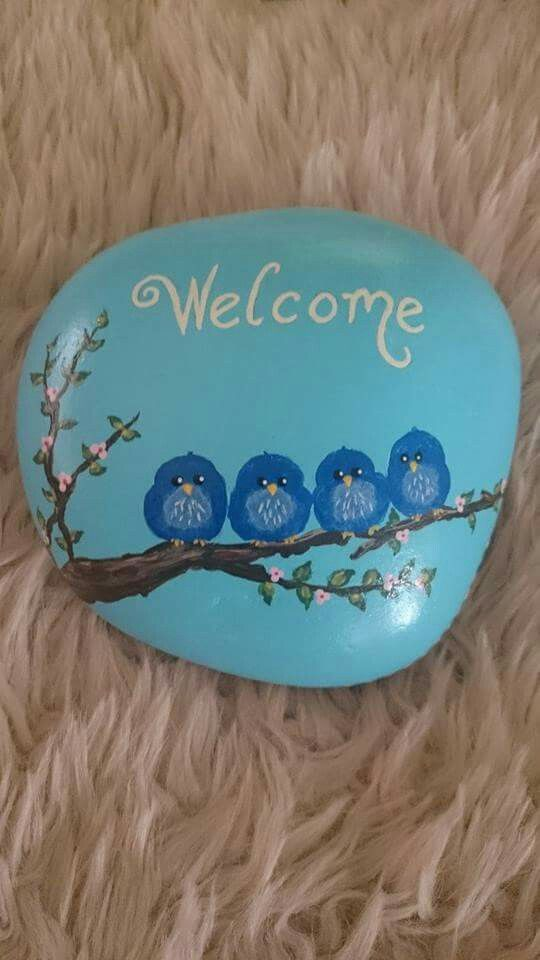 Welcome blue birds stone