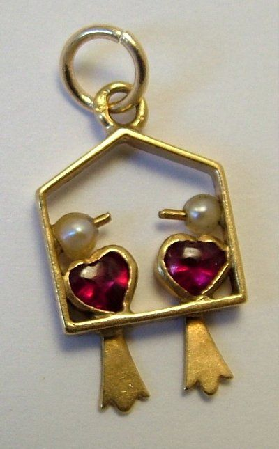 1930s-50s French 18ct Gold, Ruby & Pearl Love Birds Charm