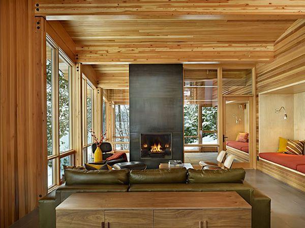 Lake Wenatchee house, fireplace