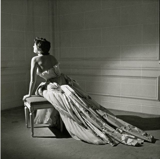 """Maxime De La Falaise in Christian Dior's ball gown named """"Henri Sauguet"""" after composer and personal friend of Dior, photo by Willy Maywald, 1950"""