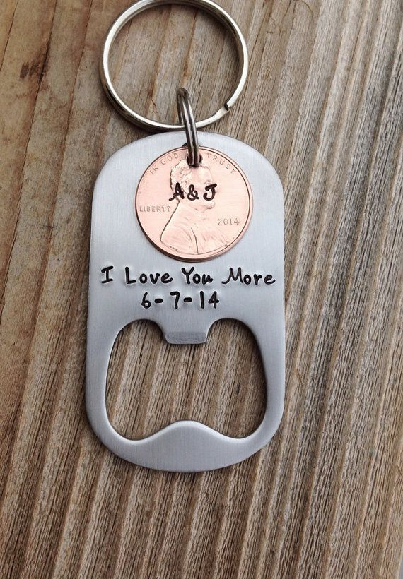 Custom bottle opener hand stamped anniversary by CMKreations