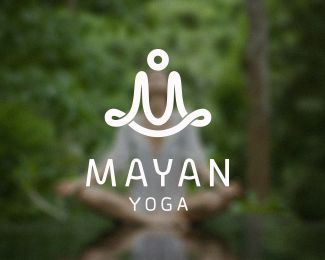 Mayan Yoga - Logo Design - Meditation, Monogram, Logomark, White, Green