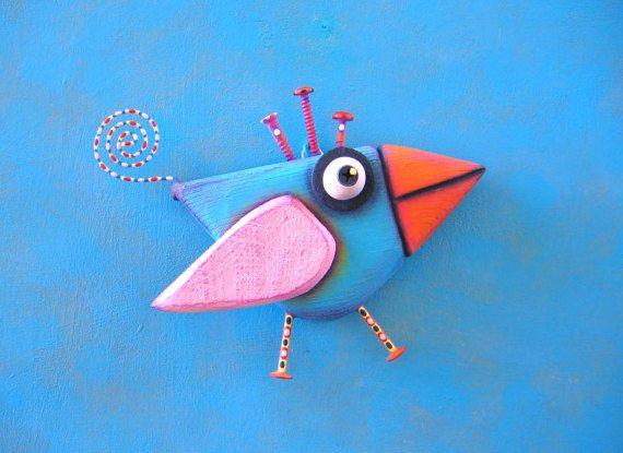 Ave pared arte Bluebird poco objeto encontrado pared