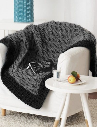 Quick & Easy Blanket men will like. Free pattern at Yarnspirations