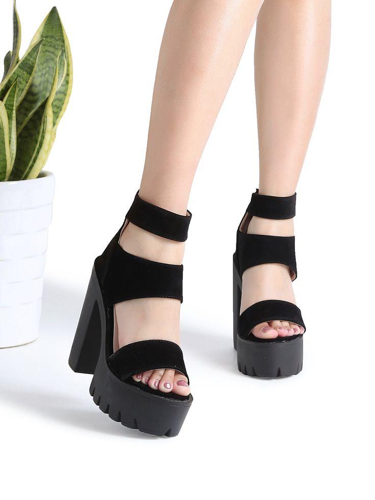 Shein Black Strappy Platform Heeled Sandals