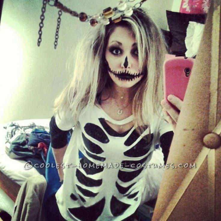 My skeleton costume is very easy and cheap to create. My sister and I went as sister skeletons for Halloween this year.