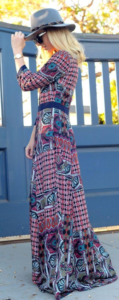 Multi Folk Mix Prints Maxi Dress