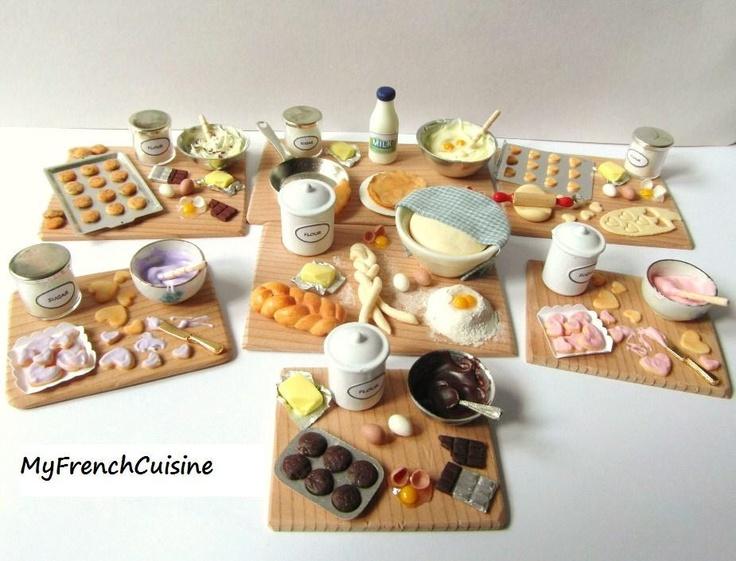Chocolate cookies preparation board - Handmade miniature food