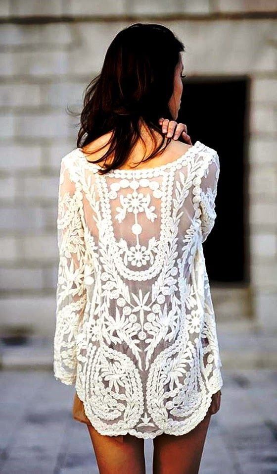 Cream White Floral Crochet Tunic. Available in white or black via Goodnight Macaroon.