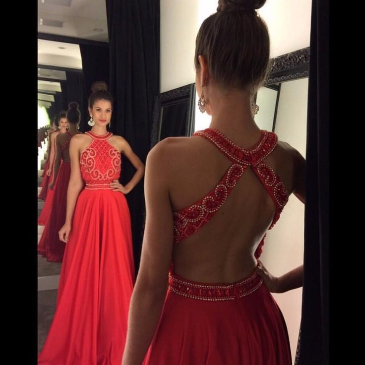 Vestido De Festa Longo Prom Dresses 2016 New Cheap Halter Neck Sleeveless Open Back Crystal Beads Red Chiffon Long Evening Dress Party Gowns Online with $129.85/Piece on Yes_mrs's Store   DHgate.com