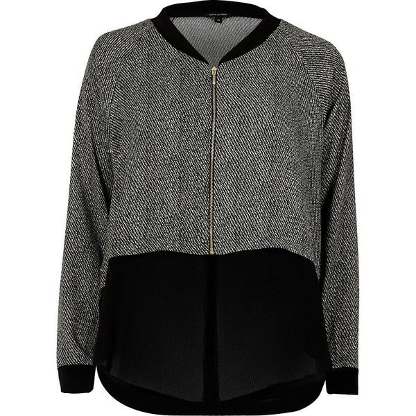 River Island Grey print contrast hem shacket ($34) ❤ liked on Polyvore featuring coats / jackets, grey, sale and women