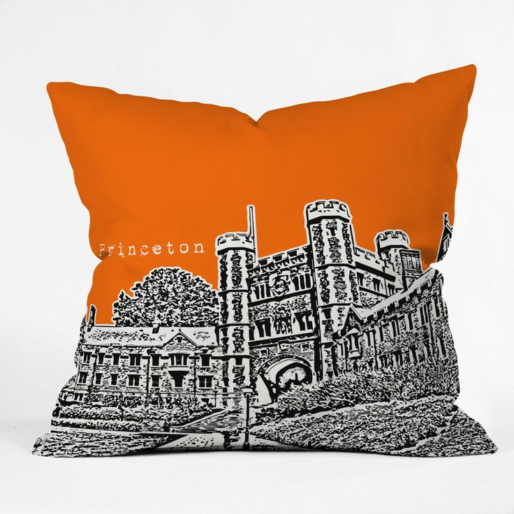 Bird Ave Princeton University Orange Throw Pillow