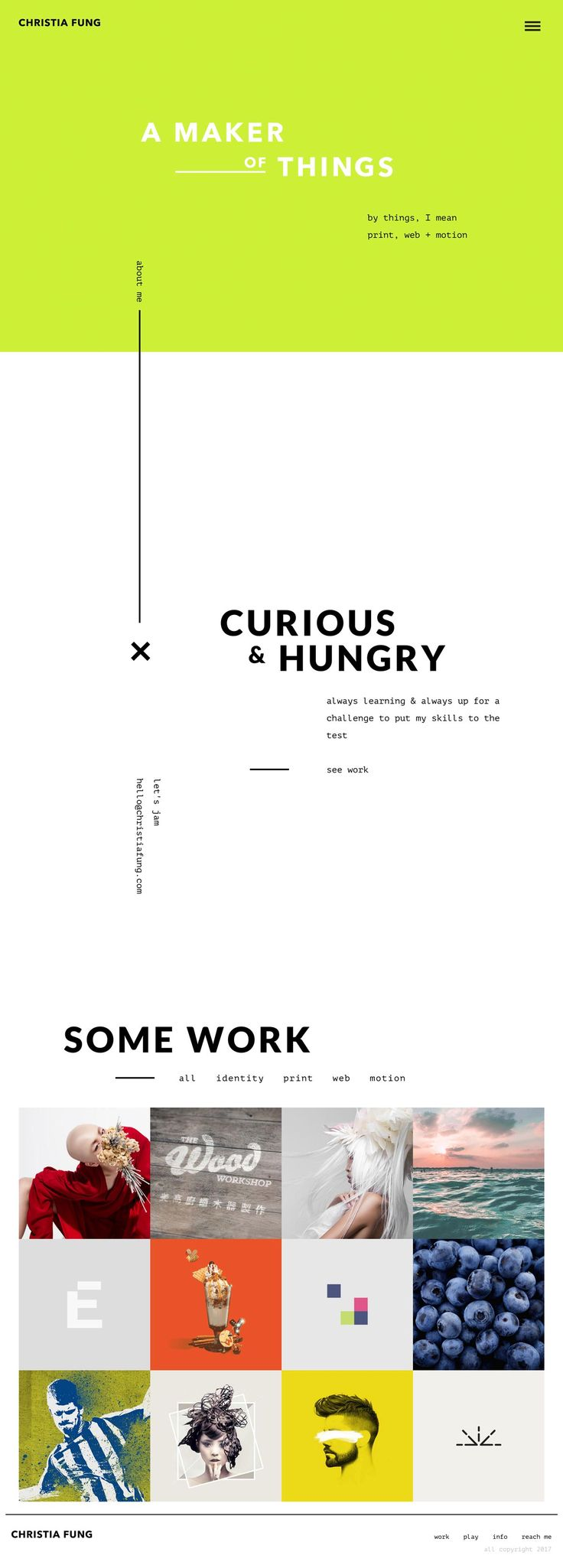 Christia Fung http://mindsparklemag.com/website/christia-fung/ Christia Fung has created a new website that has been featured on Mindsparklemag for its nice webdesign and modern beautiful portfolio with great typography