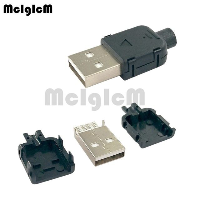 3Pcs White USB Type A Male DIY Connector Plug Jack Cable Replacement w// Shell
