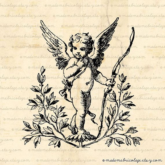 Cupid with Bow and Arrow Angels Love Digital by MadameBricolage, $1.00