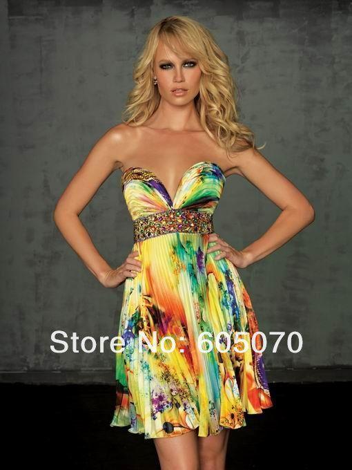 На заказ длина пола милая кристалл печать на ткани короткое вечернее платье из бисера пром платья