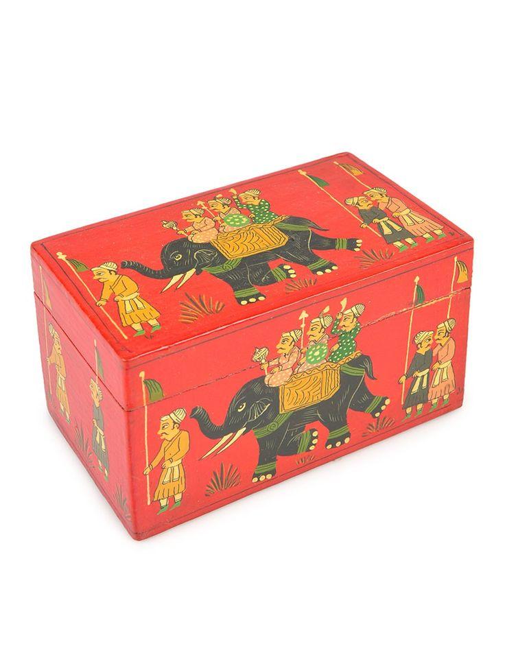 Elephants Papier Mache Box