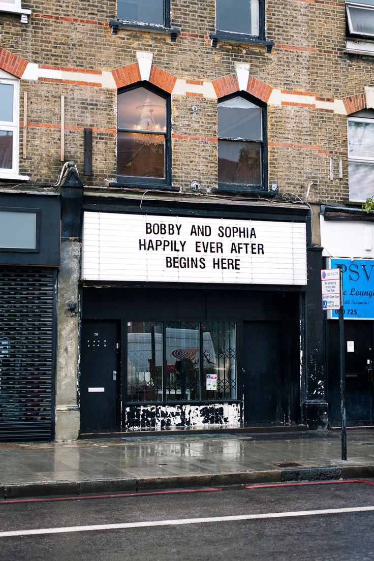 Our venue, MC Motors, has a really sweet old cinema sign above their street entrance. Bobby asked the girls at our officeto decide on the wording for a surprise message.