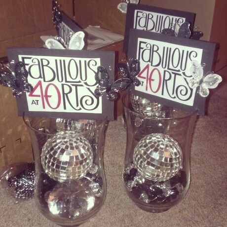 Isabels 40th birthday centerpieces