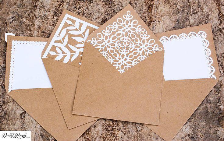 Papiernictvo - svadobné recy obálky s čipkovaným vnútrom - 5529268_