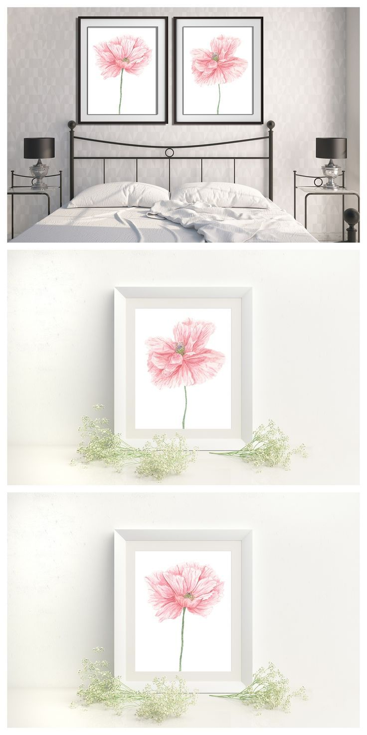 Watercolor Poppies Set Of 2 Prints 2 Wall Prints Set Of 2 Floral Prints Bedroom Wall Art Headboard Wall Ar Pink Headboard Pink Room Decor Pink Floral Decor