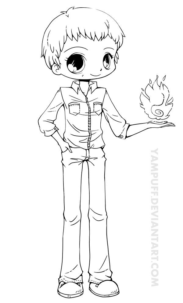 Ben Chibi Lineart Commish By YamPuff