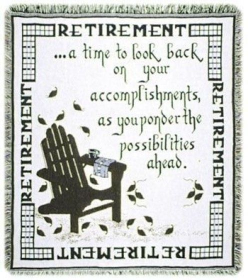A Throw Blanket with a Quote for Retirees