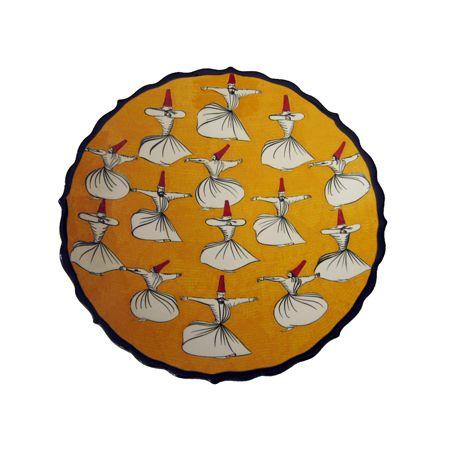 DERVISH CERAMIC PLATE, YELLOW, 18 cm