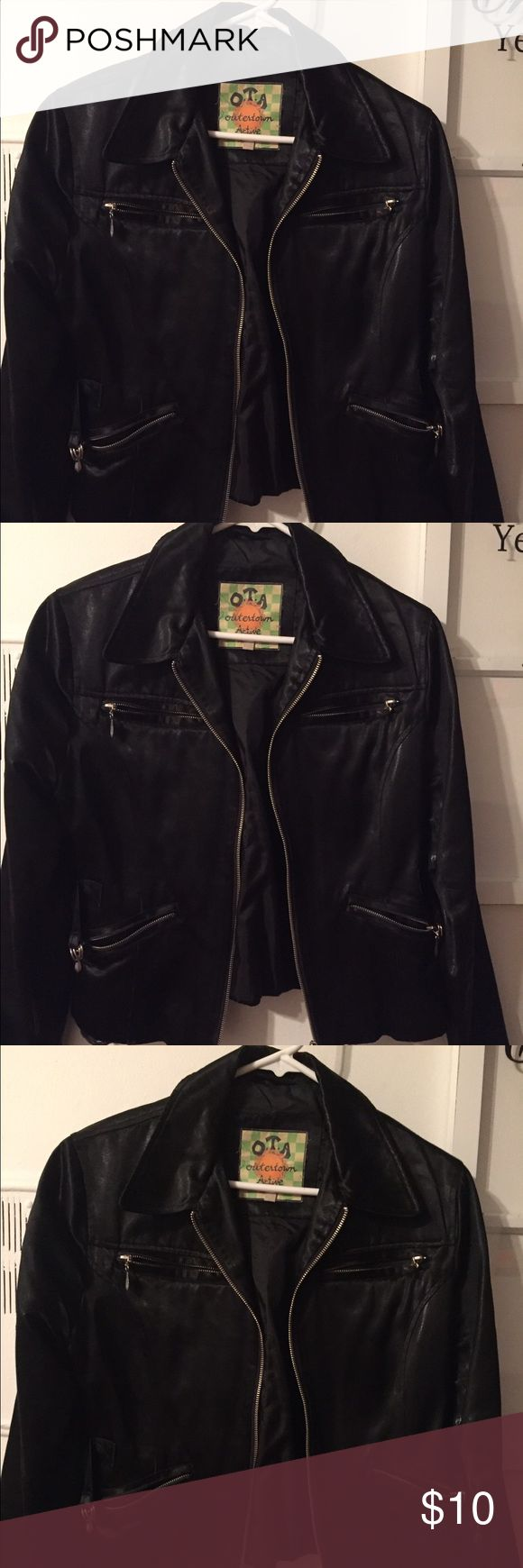 Black short zippered jacket in fair condition. Many zippers on jacket; frayed on inside bottom of jacket; had it 5 yrs.  very cool looking O.T.A Outertown Active Stuff Jackets & Coats Jean Jackets