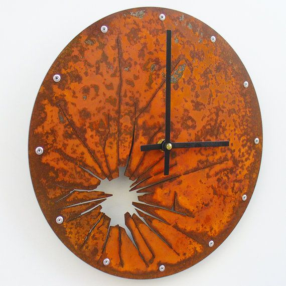 Shattered Metal Clock I Rusted by All15Designs on Etsy, $52.00